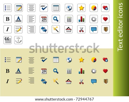 Text editor icons - stock vector