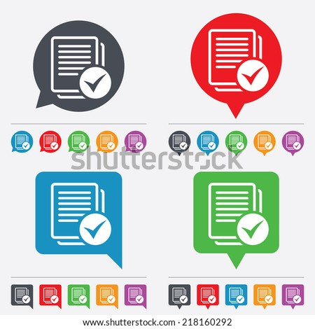 Text file sign icon. Check File document symbol. Speech bubbles information icons. 24 colored buttons. Vector - stock vector
