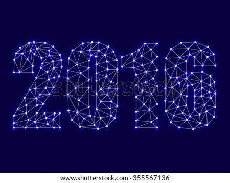 Text happy new year 2016 with glowing dots and lines, network connections. Vector illustration. Eps 10