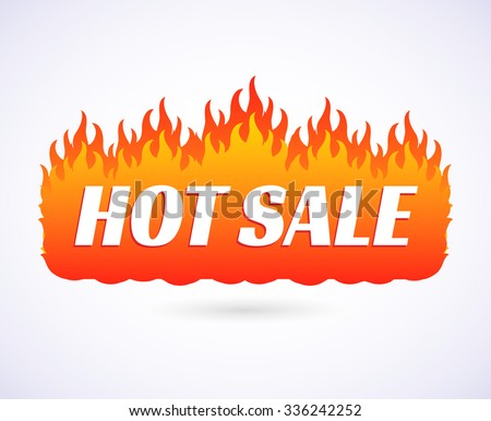 Text Hot Sale of goods at big discount prices. Flames of fire banner, poster on isolated on a white background. Vector illustration EPS 10 - stock vector