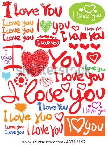 text i love you with heart - stock vector
