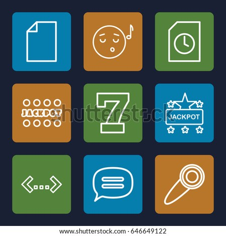 Text icons set. set of 9 text outline icons such as 7 number jackpot
