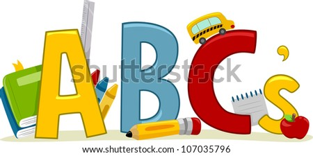 Text Illustration Featuring Letters of the Alphabet - Learning ABCs - stock vector