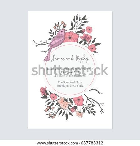 Text circle flowers birds floral wedding stock vector royalty free text in a circle with flowers and birds floral wedding invitation card template vector stopboris Images