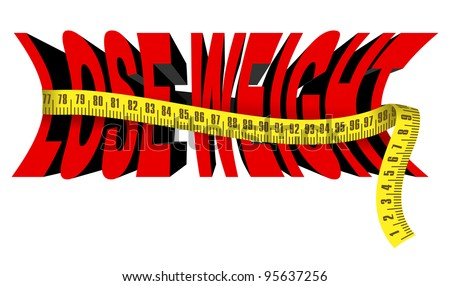 Text Lose weight with tape measure, isolated over white - stock vector