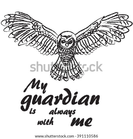 Text My guardian is always with me.Owl T-shirt lettering graphics design. illustration inscription.  letter background.  - stock vector
