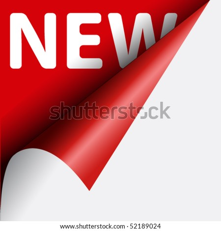 Text new on red background under curled corner of page - stock vector