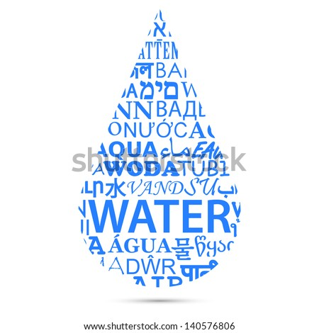 Text of Water Translations Forming a Drop - stock vector