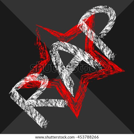 Text Rap painted rough brush. Intermittent star. Dark background. White, red, black, gray. Abstract. - stock vector