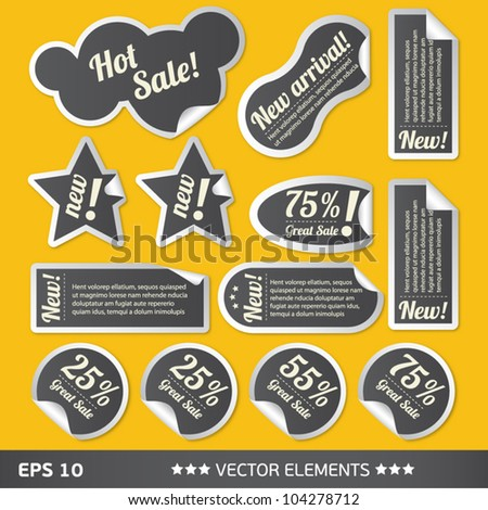 text sale bubbles. Vector text tags - stock vector