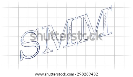 "Text ""SMM"" sketch on notebook paper, social media marketing - stock vector"