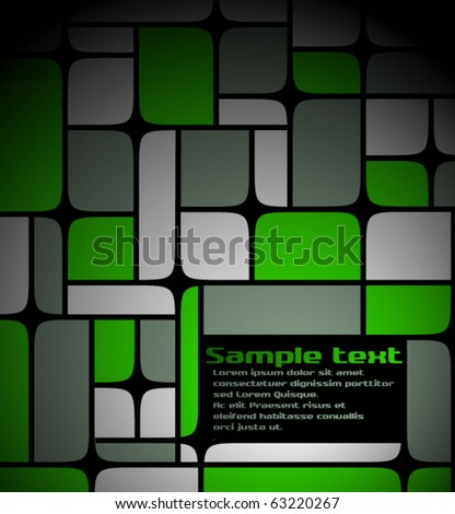 Text template made from grey  and green squares