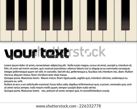 Text Template With Piano Keyboard