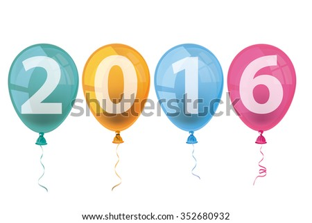 Text 2016 with colored balloons on the white background. Eps 10 vector file.
