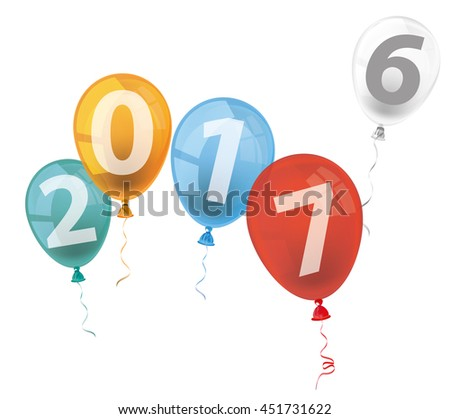 Text 2017 with colored balloons on the white background. Eps 10 vector file.