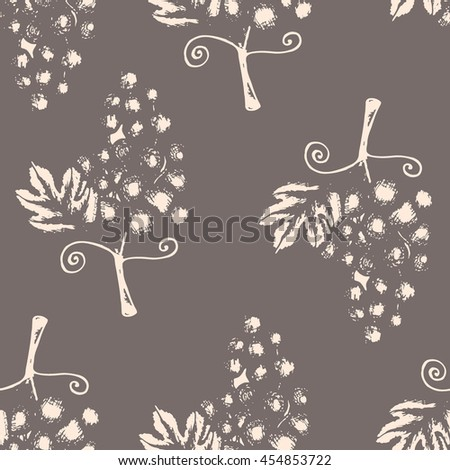 Textile design, wallpaper, hand drawn illustration of grapes, seamless pattern on gray background