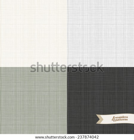 Textile fabric canvas seamless vector pattern texture pack. (eps8) - stock vector