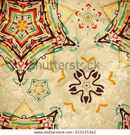 Textile seamless pattern of colored diamonds and patterns - stock vector