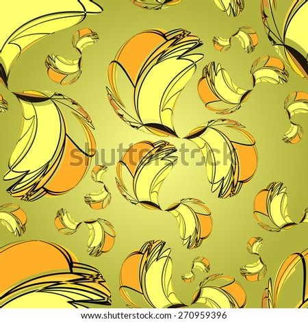 Textile seamless pattern of yellow swirls in warm colors