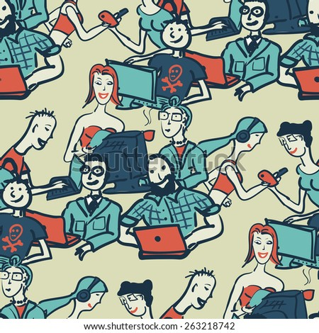 Textile seamless pattern with people chattering on the Internet - stock vector