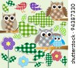Textile stickers of owls and birds in forest. Vector set - stock vector