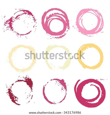 Textural prints red and white Wine stain on white background
