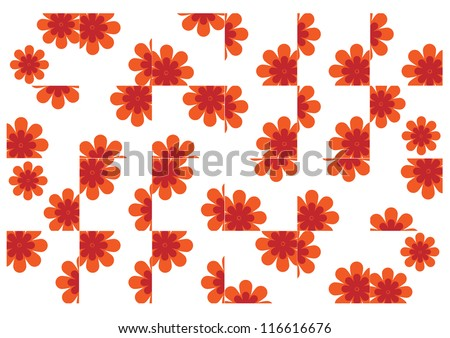 Texture design tiles with flowers