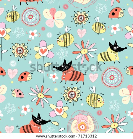 texture dogs and bees on the flowers - stock vector