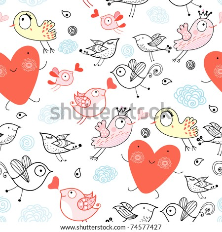 Texture funny bird with hearts - stock vector
