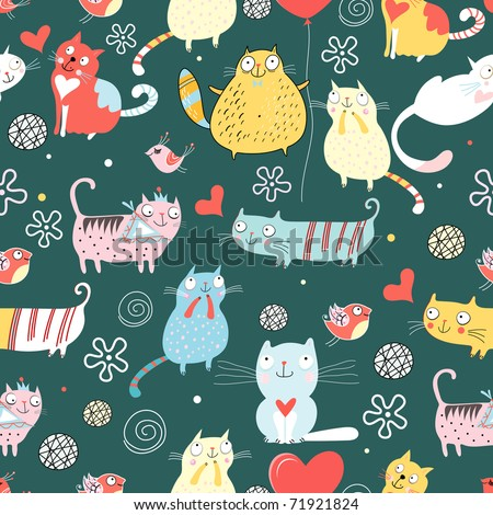 Texture funny cats - stock vector