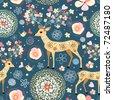 texture is fabulous flower deer - stock vector