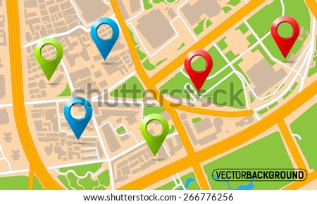 texture map with set markers - stock vector