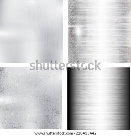Texture of Aluminum Collection . Metal Background Set . Vector Illustration . - stock vector