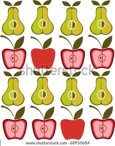 texture of apples and pears - stock vector