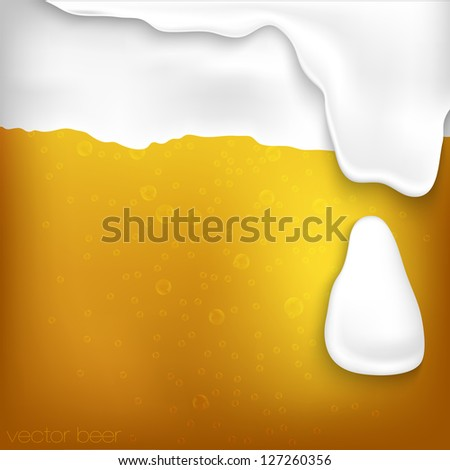 texture of beer with foam and bubbles - stock vector