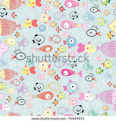 texture of different fish - stock vector