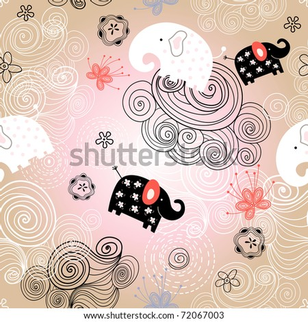 texture of elephants in the clouds - stock vector