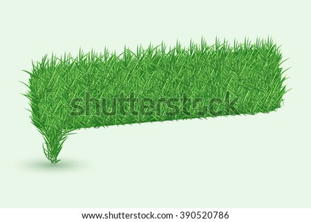 Texture of grass in shape of Speech bubbles icons isolated on white background. Vector illustration - stock vector