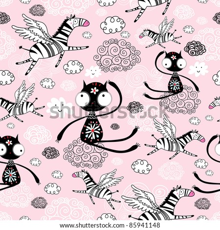 texture of the cats and flying zebras - stock vector