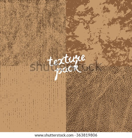 Texture pack. Canvas, stucco, cardboard, leather. Vector surface texture for grunge background - stock vector