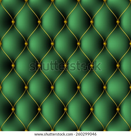 texture pattern with green upholstery with gold-plated threads and gold carnations
