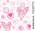 texture pink hearts - stock vector