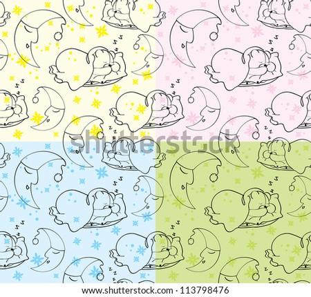 Texture sleeping teddy bear and moon - stock vector