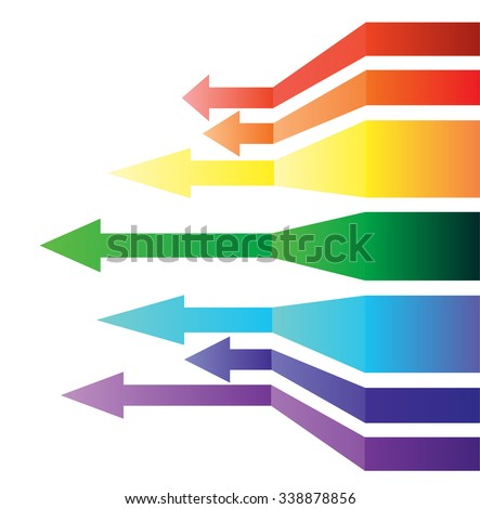 Texture with curved arrows, painted in iridescent colors - stock vector