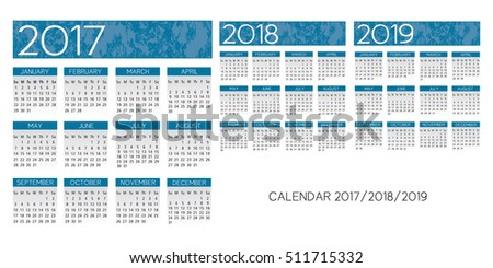 textured blue English Calendar 2017-2018-2019 vector
