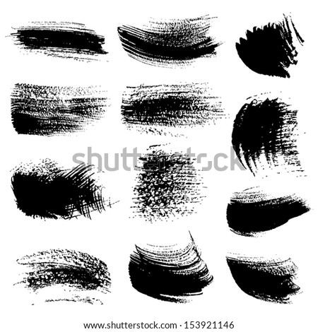 Textured brush strokes drawn a flat brush and ink  set 3 - stock vector