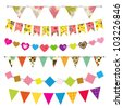 Textured bunting and garland set - stock vector