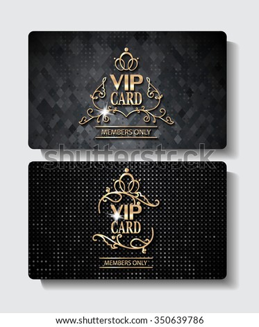 Textured gold and black VIP cards - stock vector