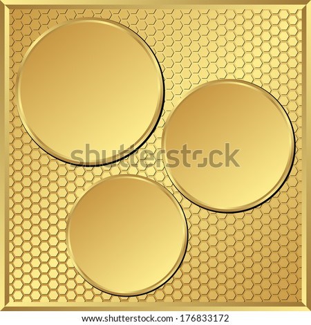 textured golden background with three round frames - stock vector
