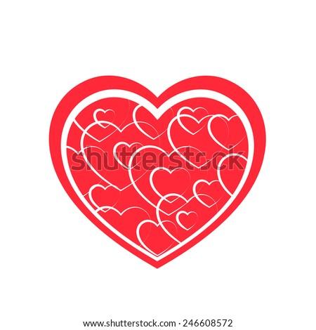 Textured heart - stock vector